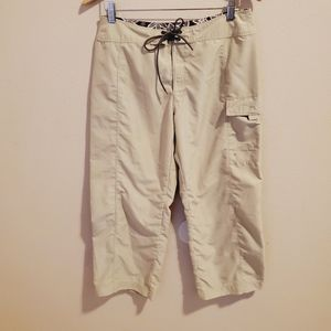 The north face tan cargo hiking cropped pants